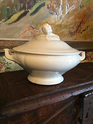 Antique French White Ironstone Covered Soup Tureen Pottery