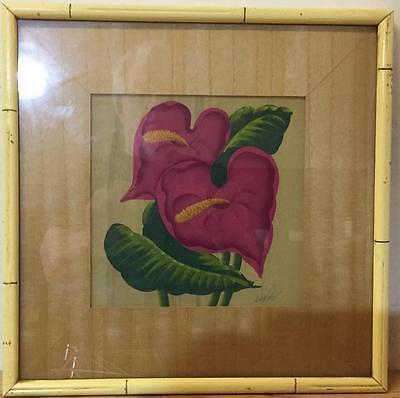 FRAMED ORIGINAL 1950s ANTHERIUM TROPICAL FLOWER PAINTING SIGNED