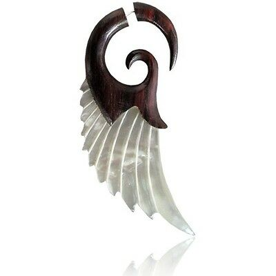 Wood and Shell Fake Expander/ Brown Wing Cheater Ear Stretcher (code 6)