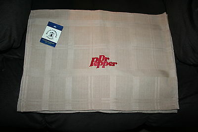 """""""Dr Pepper"""" NWT Tan w/maroon thread 2 place mats embroidered"""