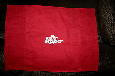 """""""Dr Pepper"""" Maroon w/tan thread 2 place mats embroidered used"""