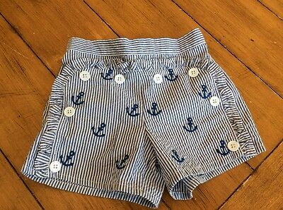 Boat House Baby Mud Pie Nautical Seersucker Shorts with Anchors 18 Mths 2/3T