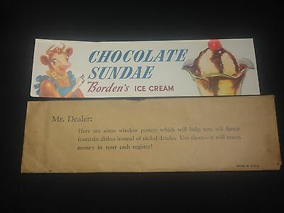 Vintage Bordens Ice Cream Paper Sign Chocolate Sundae Elsie the Cow Advertising