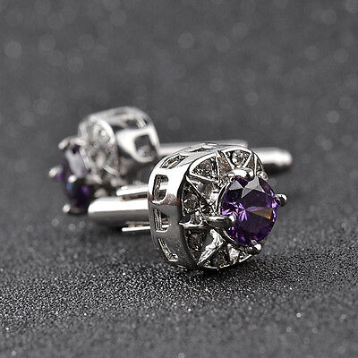 Purple Crystal Silver Men's Wedding Party Cufflinks Stainless Steel Cuff Links