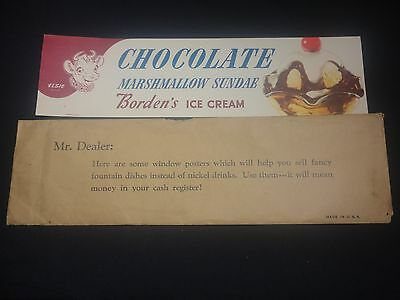 Vintage Bordens Ice Cream Paper Sign Chocolate Marshmallow Sundae Elsie the Cow