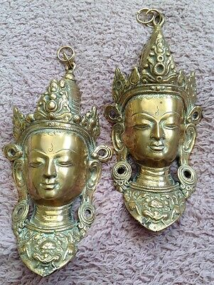 Pair Of Brass Wall Hangings Oriental Bhudda Antique Vgc