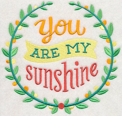 Embroidered You are my sunshine quilt block, fabric,cushion panel,sun,happy,grey