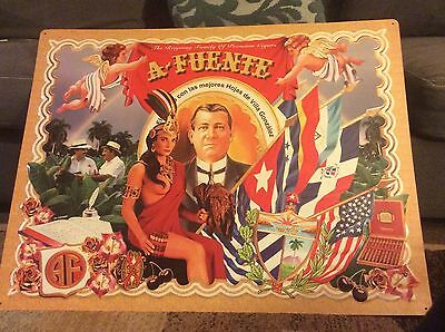 Advertising Sign Cigars A. Fuente Tin Large 35.5 X 27.5 Vivid Colors
