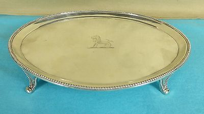 Georgian Sterling Silver Oval Tray Beaded Lion Fish Crest Hester Bateman 1788