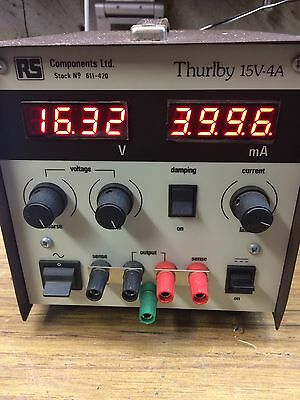 Thurlby LED 0-15V 0-4A Bench  power supply unit RS 611-420 Working