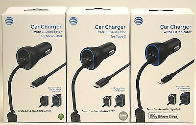 AT&T OEM Rapid Fast Car DC Charger w/ LED Indicator Micro USB/Type C/Lightning