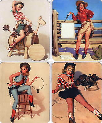4 Stück Sexy Pinup Wildwest Cow Girl Set Fridge Magnet Kühlschrankmagnete No 16