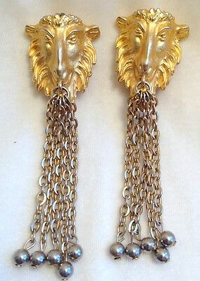 Vintage Gerard Yosca Lion Head Chain Gold Tone Clip On Earrings 1980s Clip-ons