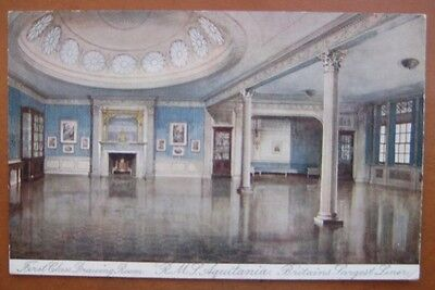 AQUITANIA (Cunard) Interior illustration of the First Class Drawing Room c1914