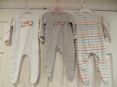 3 x babygrows for baby boy/girl age 3-6mths from Mothercare
