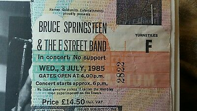 Bruce Springsteen and the E street band. concert ticket  1985 Wembley Stadium