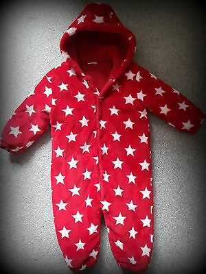 NEXT Baby girl Red Snowsuit with stars, 12-18 months, VGC
