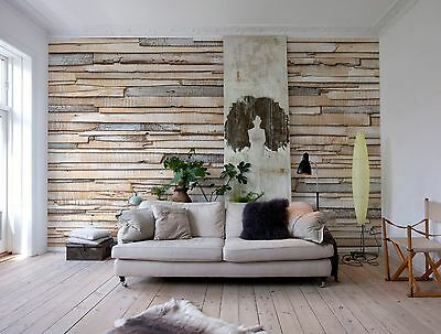 Wall Mural Photo Wallpaper WHITEWASHED WOOD WOODEN WALL Home Art Decor 368X254cm