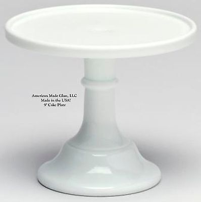 """Milk Glass Plain & Simple 9"""" Cake Plate Bakers Stand Pastry Tray Mosser"""