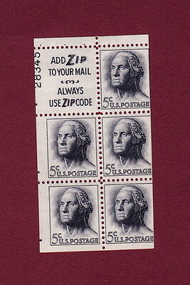 #1213a 5c Washington pane Miscut shows 80% of plate number, slogan3, MNH