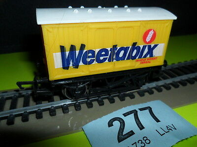 "Hornby OO Gauge closed wagon ""Weetabix"" livery in yellow"