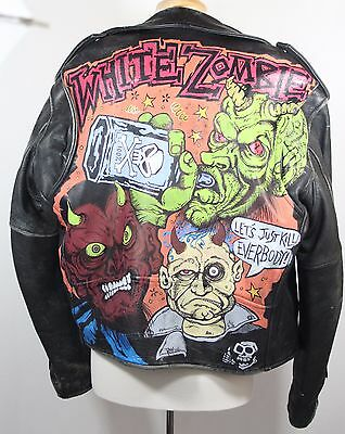 White Zombie Hand Painted Leather Biker Jacket Rob Zombie Sz Large