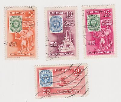 (COA-73) 1959 Colombia part 4set Colombian stamp centenary 5c to 50c