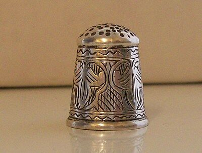 Stunning Un-marked White Metal/ Silver Thimble with Lovely Decoration