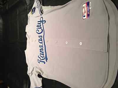 Authentic KC Royals Majestic Jersey Gray Size 44