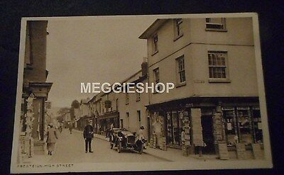 Wales Radnorshire: Presteign : High Street : Shops / Policeman Old Postcard
