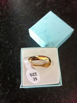 'stunnnig Silver 10Ct Gold Filled Band Ring Size ''q''