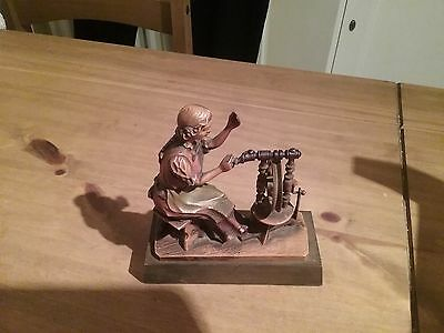 Vintage Bavarian Style Lady With Spinning Wheel Figure