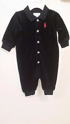 Nwt Ralph Lauren Baby Boy Velour Coverall Navy Infant 3,6,9 Months