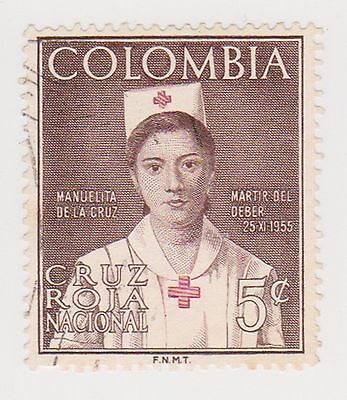 (COA-112 1961 Colombia 5c RED CROSS fund