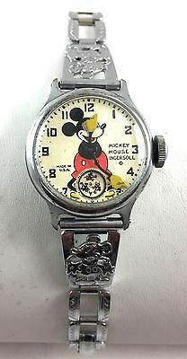 RARE WORKING VINTAGE MICKEY MOUSE WATCH W/ MICKEY MOUSE BAND 1930's