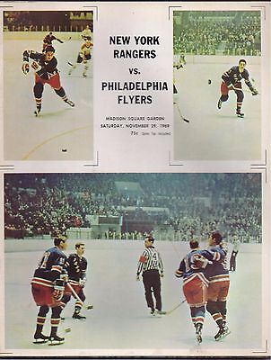 ICE HOCKEY PROGRAMME - NEW YORK RANGERS v  PHILADELPHIA FLYERS 1969