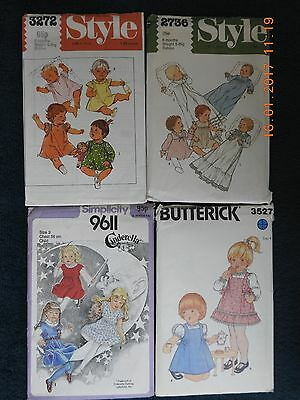 Lot Of 4 Vintage Baby & Child Sewing Patterns From 1979 – 1980S