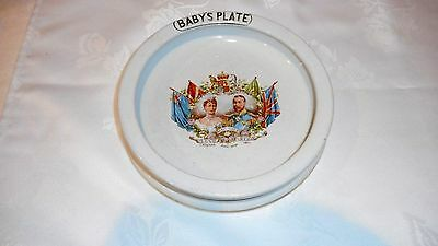 """1911 Coronation King George V & Queen Mary Babys Plate Dish """"long May They Reign"""