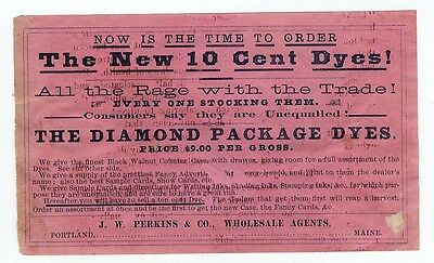 DIAMOND PACKAGE DYES Advertising Flyer c 1880-1900 - Shows Counter Case