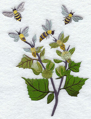 Embroidered Bees in the garden quilt block, fabric,cushion panel,machine,art
