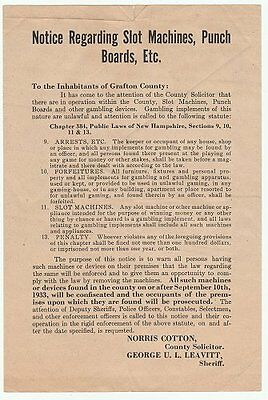 1933 notice on slot machines & gambling devices, Grafton County, NH