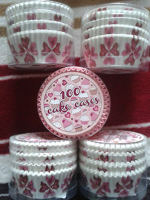 4 x 100 HEART design Cup Cake Cases