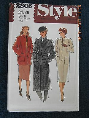 Style 2805. Vintage Uncut Sewing Pattern From 1979. Coat Size 14