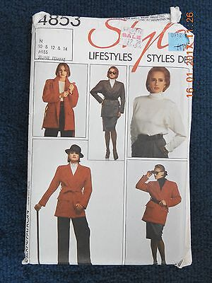 Style 4853. Vintage Uncut Sewing Pattern From 1986.  Full Outfit Size 10, 12 & 1