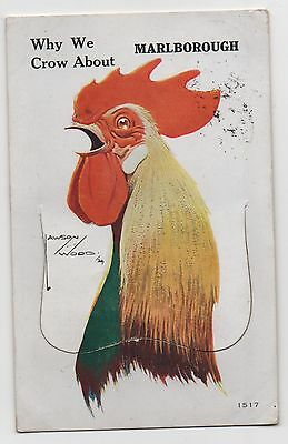 """Lawson Wood Novelty Pull Out Postcard """"why We Crow About Marlborough"""""""