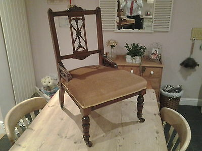 antique Edwardian, Victorian carved nursing chair bedroom chair