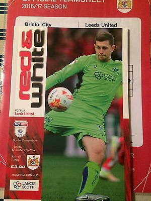 Bristol City Leeds United Championship 2016/17 Programme Team Sheet Exc