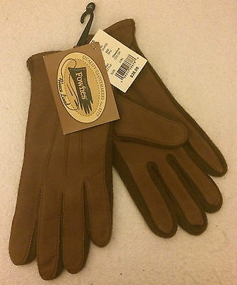 Womens FOWNES Chestnut Brown Genuine Leather Knit Gloves Lined Sz L/XL  NEW NWT