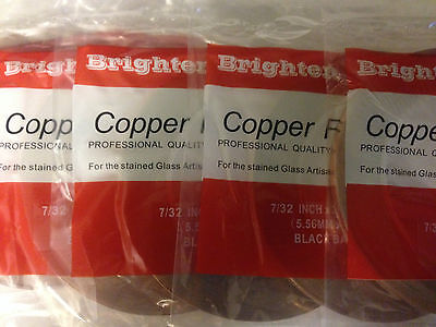 6 rolls stained glass supplies--7/32' copper foil  black back