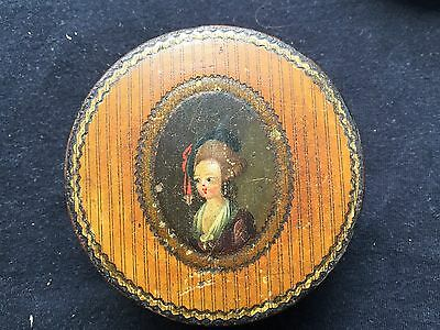 Antique French Painted Wood Snuff Box w/Idealized Portrait Of A Lady c 1780 NR!